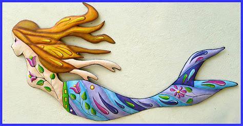 Mermaid Metal Art Painted Metal Wall Hanging Garden Art