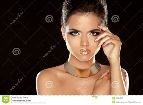 glamour lady fashion beauty girl isolated on black