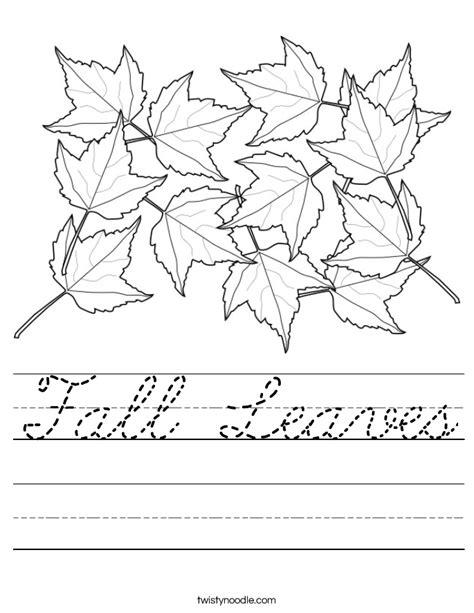 fall leaves worksheet cursive twisty noodle