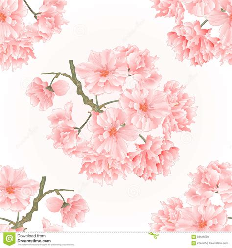 Seamless Texture Twig Tree Sakura Blossoms Vintage Hand