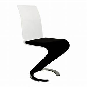 Chaise Noire Design : chaise design noir et blanc lot de 2 achat vente chaise simili acier cdiscount ~ Teatrodelosmanantiales.com Idées de Décoration
