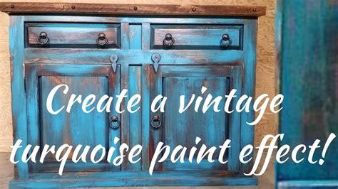 distressed white cabinets diy vintage turquoise paint technique