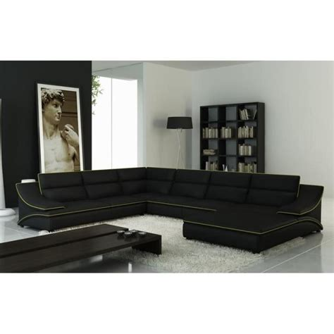 grand canape cuir grand canapé d 39 angle en cuir noir et vert design achat