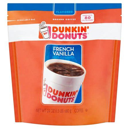 Each bottle is made with dunkin s rich, signature smooth coffee or espresso, for the taste you know and love. Dunkin' Donuts French Vanilla Ground Coffee, 24 oz ...