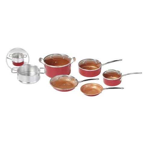red copper  pc cookware set    tv red copper cookware copper cookware set
