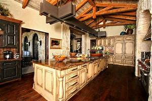 awesome rustic spanish style kitchen decorating designs With kitchen colors with white cabinets with rustic iron candle holders