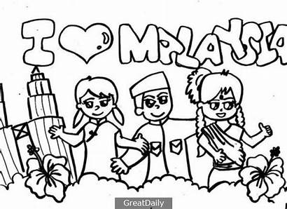 Coloring Pages Posters Kemerdekaan Poster Colouring Colour