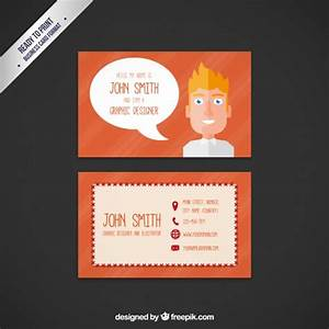 Business card with a cartoon man vector premium download for Business card cartoon
