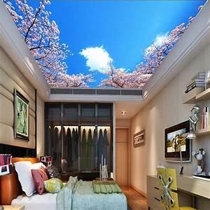 3D Wallpaper Mural Cherry Blossom Ceiling Wall Paper ...