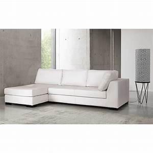 angle droit de canape lit en cuir blanc terence maisons With canapé lit en cuir