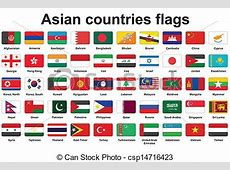 Set of asian countries flags icons with rounded corners