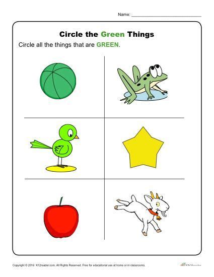 circle the green things preschool activities and 778   c764860c4405ad1610e272d7cac60bd2