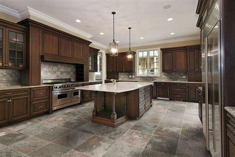 Kitchen Floor Tile Ideas With Oak Cabinets Blue Design