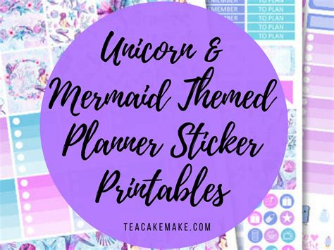 unicorn  mermaid themed planner printables