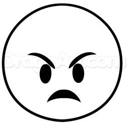 Black and White Angry Face Emoji