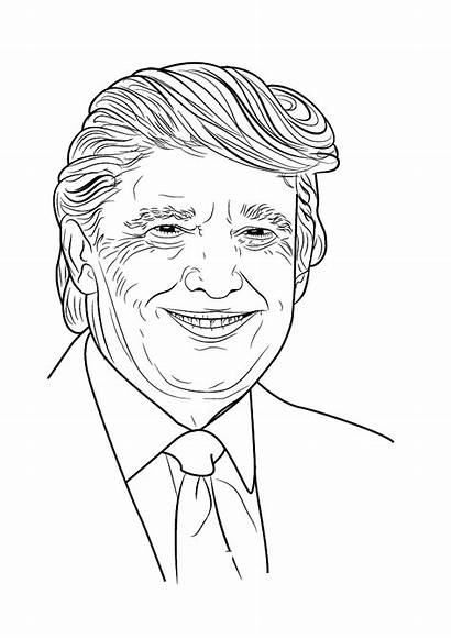 Trump Coloring Donald Pages Presidents Printable Smiling