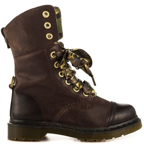 dr  martens aimilita  eye brown leather fold  combat boot    ebay