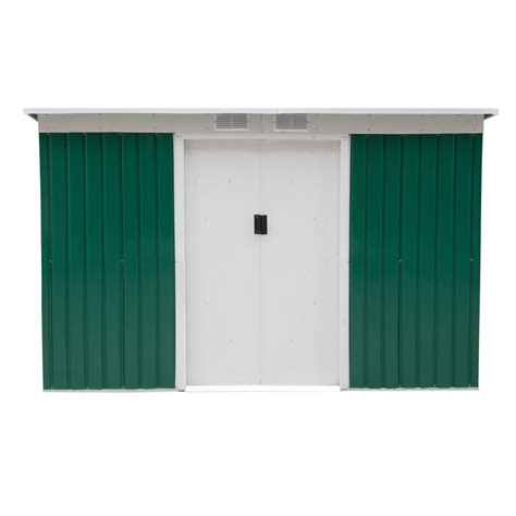 Outsunny 9' X 4' Outdoor Metal Garden Storage Shed Green