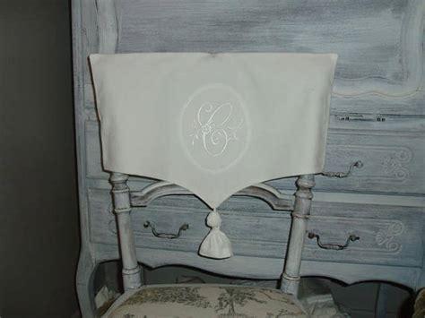 housse de chaise dossier rond housse de dossier de chaise en linge ancien monogramme en