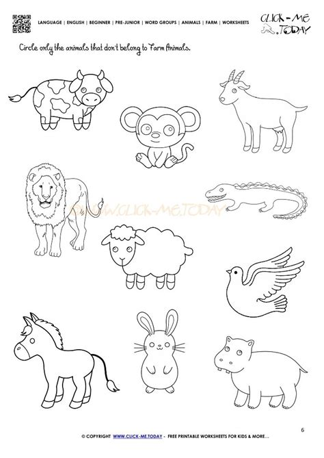 animals worksheet  kindergarten  schematic