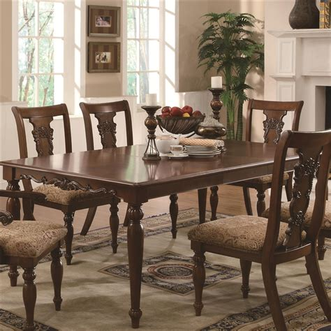Addison 7 Pc Dining Table Set In Cherry Finish By Coaster
