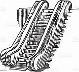 Escalator Drawing Coloring Pages Illustration Vector Istock Only Getcolorings Graphic sketch template