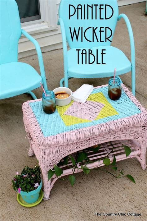 painted wicker table krylon spray paint sprays and design
