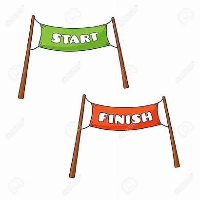 Finish Start Clipart Starting Cartoon Line Ziel