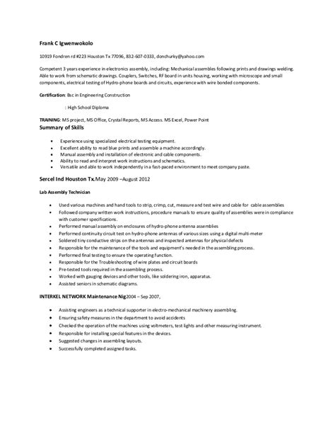 Assembly Line Technician Resume by Assembler Top Resume