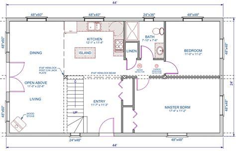 open loft floor plans 1056 sqft 24 x44 a