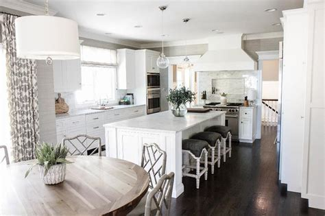 White Kitchen Island with Gray Seat Abacus Counter Stools