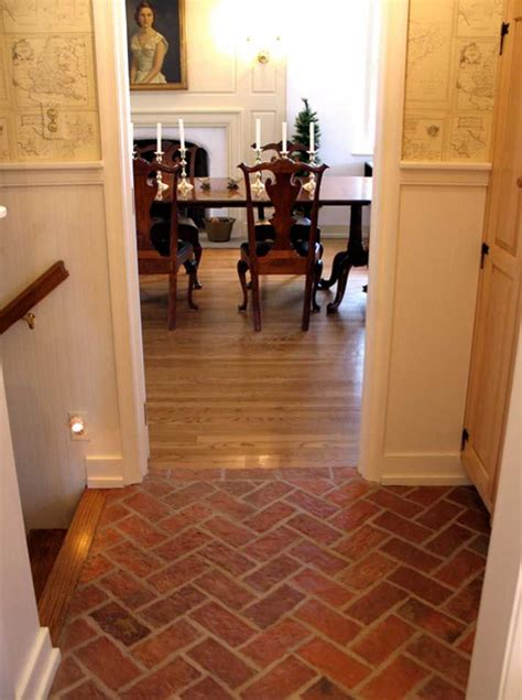 fake brick flooring great white wall painted  faux