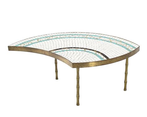 bronze round coffee table three part bronze and mosaic round coffee table for sale