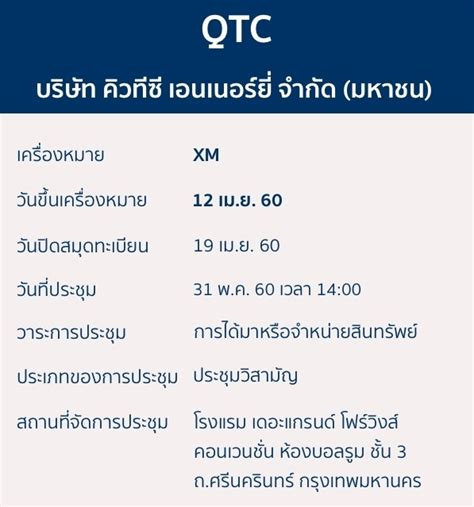 QTC ขึ้นเครื่องหมาย XM วันที่ 12 เม.ย. 60 Bualuang ...