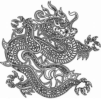 Dragon Japanese Coloring Tattoo Chinese Outline Tattoos