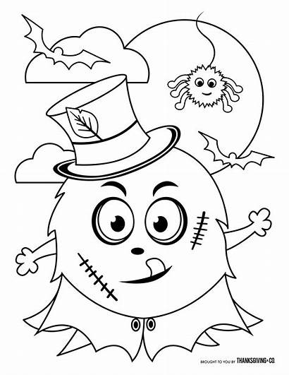 Halloween Coloring Pages Monster Kid Thanksgiving Frankenstein