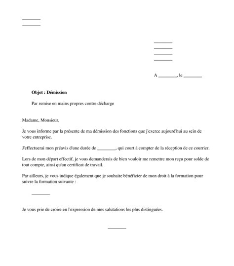 modele lettre demission - Modele De Lettre De Demission Cdd