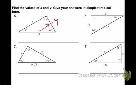 applying special right triangles worksheet worksheets for