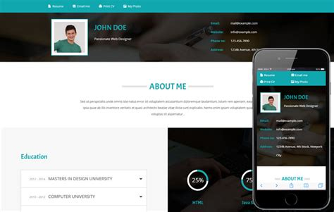 Themes Resume Website by Personal Website Templates Cyberuse
