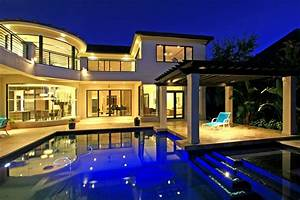 Mansions Pools Night Modern Mansion Kitchen Home Design