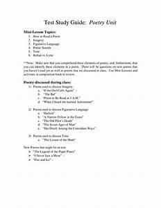 Study Guide - Poetry Unit Test By Elia Chesnoff
