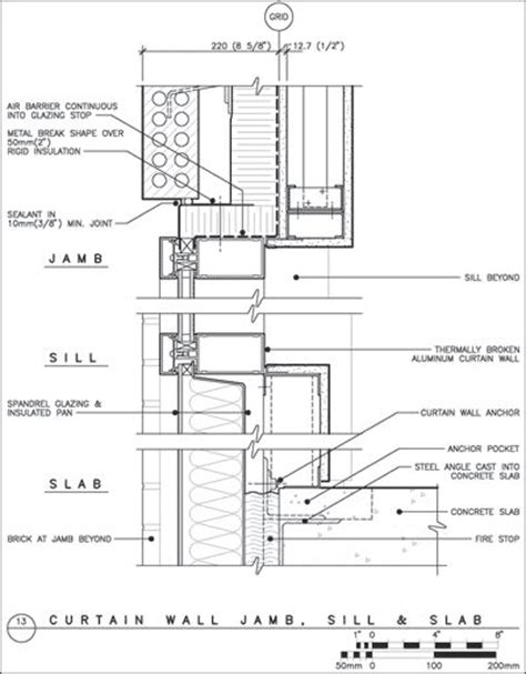 curtain wall jamb sill and slab architectural