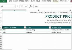 Product Price List Template For Excel