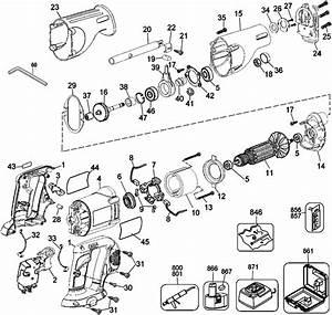 Dewalt Dw938 18v Cordless Reciprocating Saw Parts  Type 1