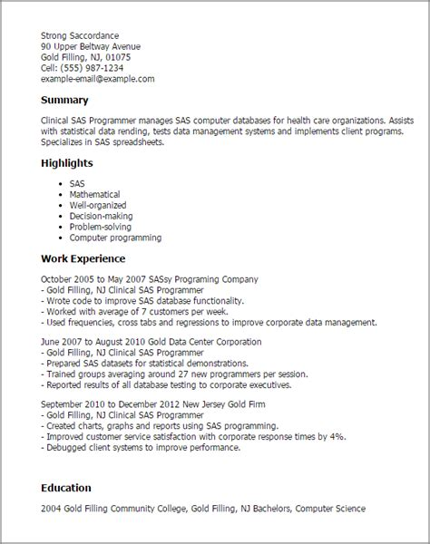 Experienced Sas Programmer Resume by Professional Clinical Sas Programmer Templates To Showcase