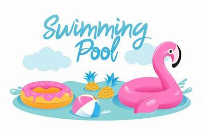 Pool Flamingo Concept Vacations Piscina Sommerferien Vektoren