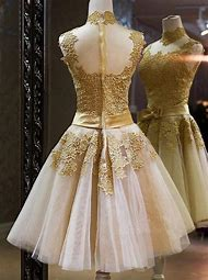 Gold Lace Cocktail Dress