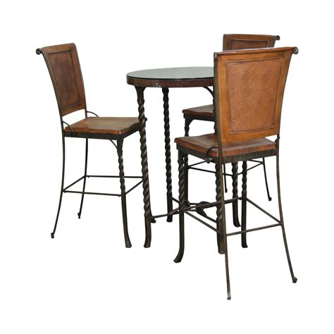 Iron & Hammered Copper Top Round High Top Pub Table W 3