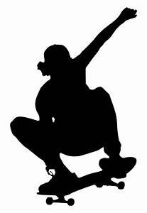 OnlineLabels Clip Art - Skateboarding Trick Silhouette