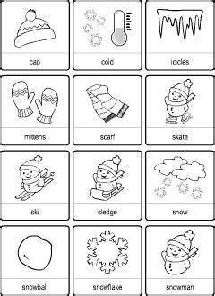 winter vocabulary  kids learning english printable